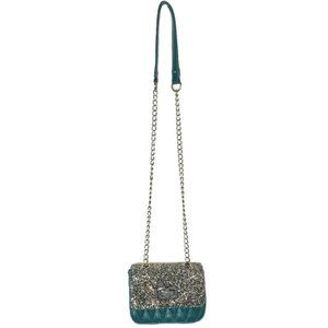 Express Teal Faux Leather Sparkly Crossbody Bag